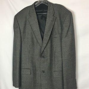 Haggar Mens Gray and Black Windowpane Sports Coat